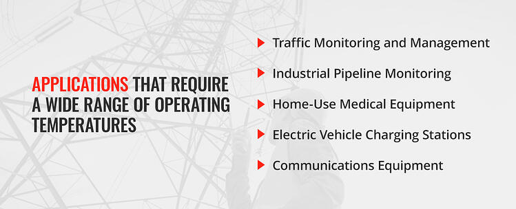 Applications that require a wide range of operating temperatures